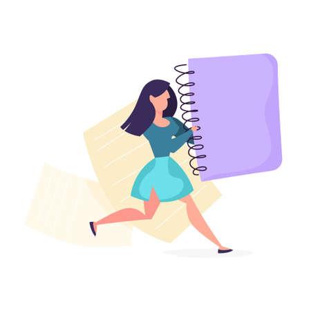 Copywriter concept. Woman holding a big notebook Ilustrace