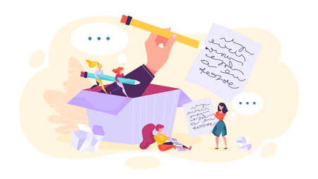 Copywriter concept. Idea of writing texts, creativity Illustration