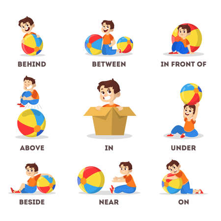 Kid and ball set. Learning preposition concept. Boy above 矢量图像