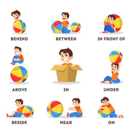 Set bambino e palla. Apprendimento del concetto di preposizione. ragazzo sopra