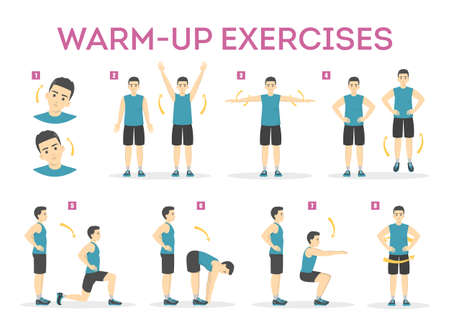 Warm-up exercise set before workout. Stretch muscles Vectores