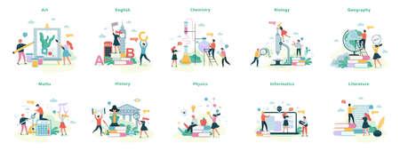 Set di materie scolastiche. Idea di educazione e scienza