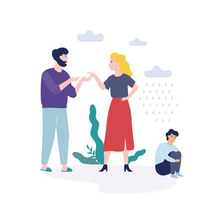 Problems in family. Father shouting at mother, quarrel and divorce concept. Unhappy child crying. Conflict between mother and father. Isolated vector illustration in flat style