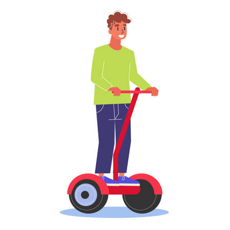 Young man riding on the hoverboard. Idea of modern technology and futuristic device. Electric fast board. Isolated vector illustration in cartoon style Ilustração