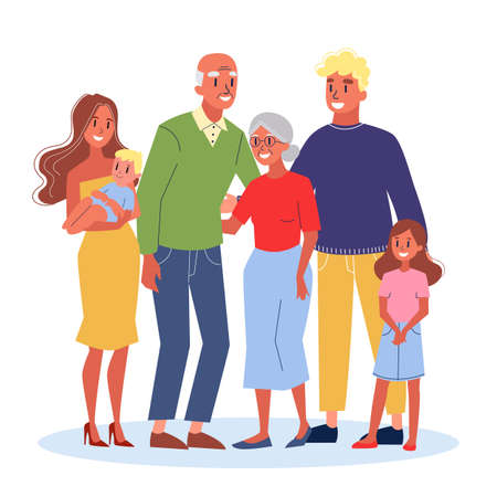 Mom and dad, children and their grandparents Banque d'images - 127874639