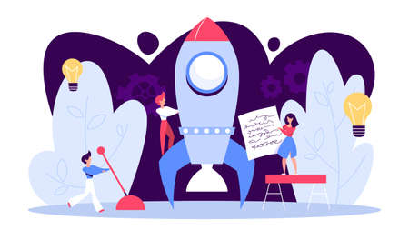 Rocket launch as a metaphor of startup. Business development concept. Entrepreneurship concept. People work together in company. Vector illustration in cartoon style Vektorové ilustrace