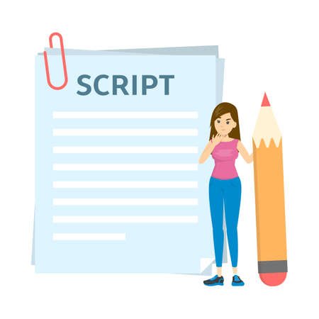 Woman writing script for movie or blog. Girl standing 向量圖像