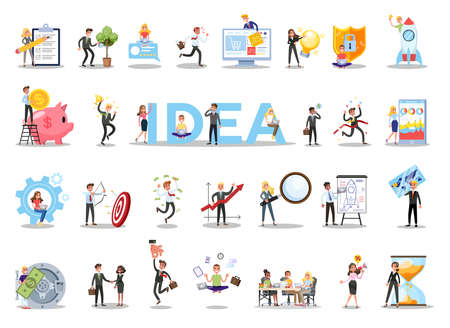 Business teamwork set. Collection of people working in team Ilustrace