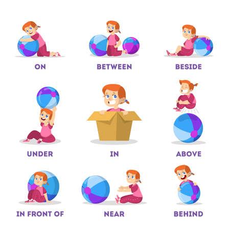 Set bambino e palla. Apprendimento del concetto di preposizione. Piccola ragazza