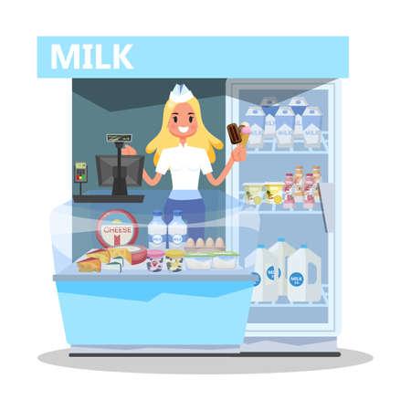 Milk market concept. Happy young woman standing Ilustração