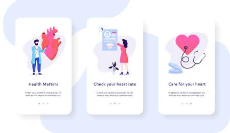 Concepto de banner de web móvil de chequeo cardíaco. Idea de cuidado de la salud