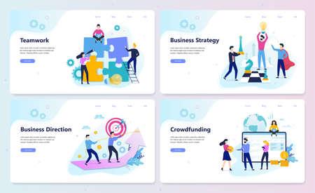 Business strategy web banner concept set. Market research Ilustração