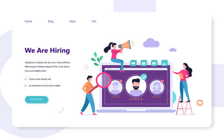 We are hiring. Recruitment web banner concept. Job interview and human resources manager. Employment and labor. Search work in internet. Isolated vector illustration in flat style