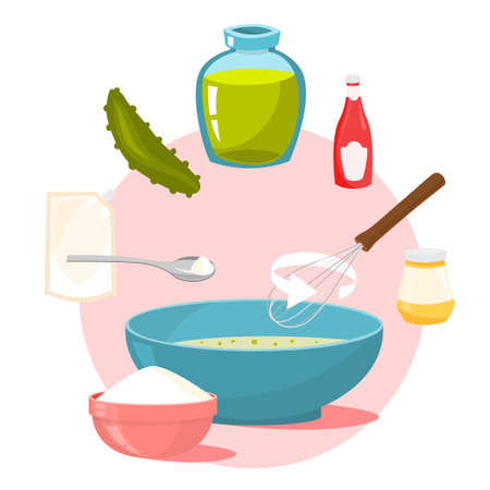 Homemade sauce ingredients. How to cook dinner Illustration