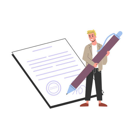 Man holding a big pen and sign the contract