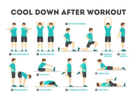 Cool down nach dem Training Übungsset. Sammlung Vektorgrafik