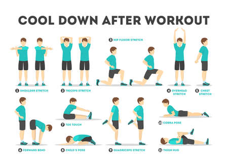 Cool down after workout exercise set. Collection