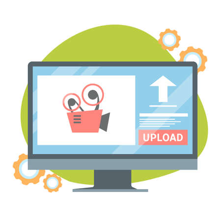 Video upload button on the computer monitor screen. Download data concept. Media in the internet. Isolated vector illustration in cartoon style