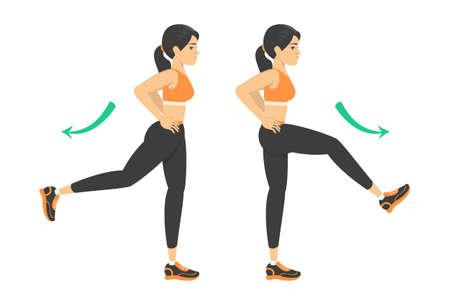 Donna che fa esercizio di oscillazione della gamba. Riscaldamento prima dell'allenamento Vettoriali