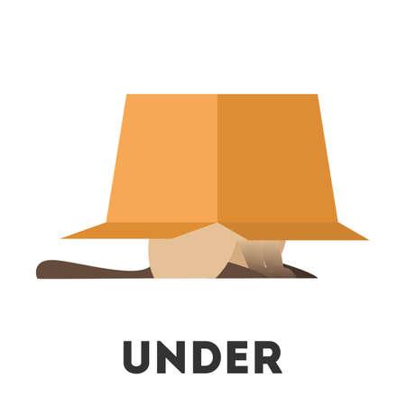Gato y caja. Concepto de preposición de aprendizaje. Animal debajo de la caja. Ilustración educativa vector aislado en estilo de dibujos animados