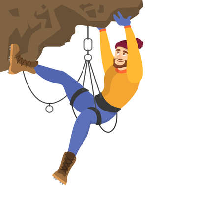 Alpinist climb the mountain. Extreme sport and high effort. Alpinism and climber concept. Isolated vector illustration in cartoon style Illustration
