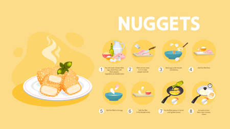 Chicken nuggets recipe for cooking at home. Homemade nugget with crispy crust. Unhealthy snack of meat. Tasty dinner with ketchup. Isolated flat illustration