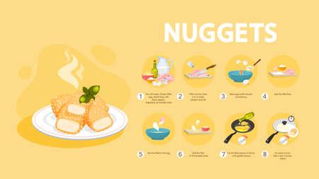 Ricetta bocconcini di pollo per cucinare a casa. Crostata fatta in casa con crosta croccante. Spuntino malsano di carne. Cena gustosa con ketchup. Illustrazione piatta isolata