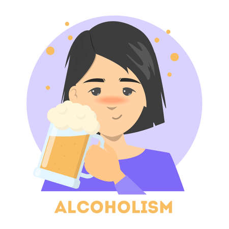 Drunk woman with an alcohol addiction holding a cup