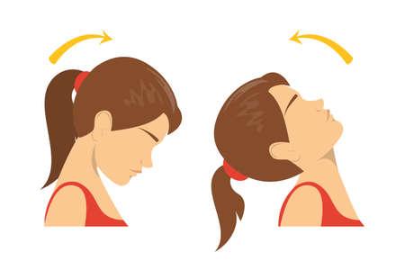 Ejercicio de rotación de cuello. Girando la cabeza hacia arriba y hacia abajo