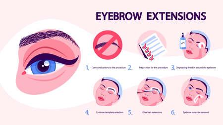 Eyebrow extension and design process. Woman making Illusztráció