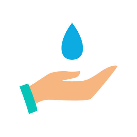 Hand and water drop icon. Save clean water symbol. Idea of environment care and ecology. Isolated vector illustration in flat style
