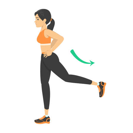 Woman doing leg swing exercise. Warm-up before workout