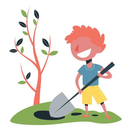 Little boy digging dirt with a shovel. Child gardening