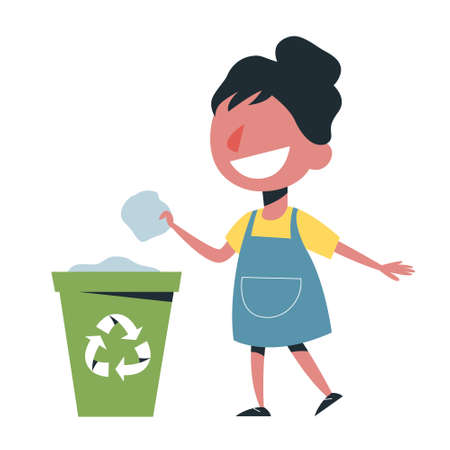 Kid throw garbage in the trash can. Girl character care Illustration