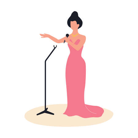 Woman standing in pink dress and sing. Performer Illustration