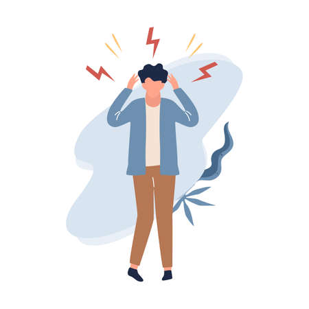 Man in stress. Stressed character confused. Frustration and depression, upset guy. Isolated vector illustration in flat style
