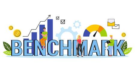 Benchmarking web banner concept. Idea of business Illustration