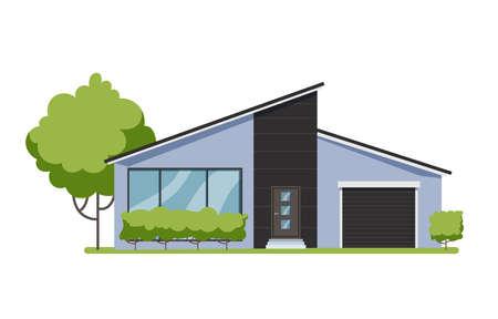 Wooden cottage, modern architecture. Idea of real estate Illusztráció