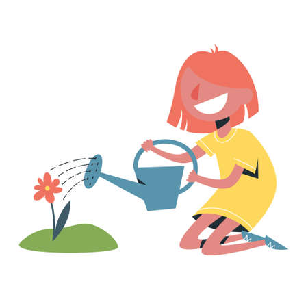 Cute little girl water a flower using watering can. Idea of gardening. Summer activity. Isolated vector illustration in cartoon style