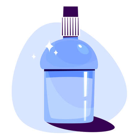 Mouthwash in a plastic bottle. Fresh liquid for dental