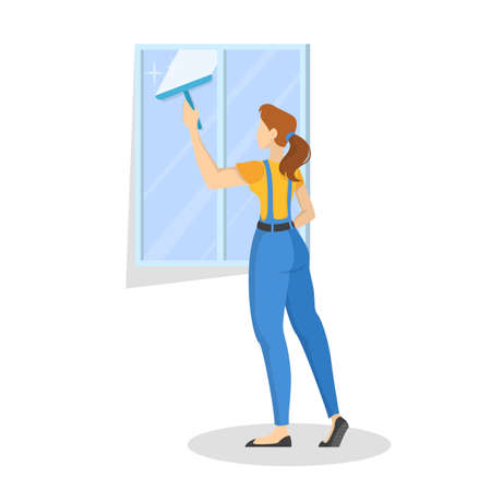 Woman in the uniform wash the window. Cleaning service Çizim