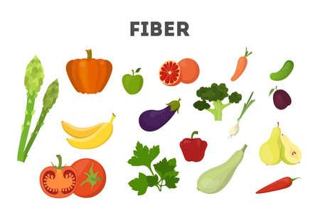 Juego de alimentos con fibra. Frijoles y brócoli, arroz Ilustración de vector