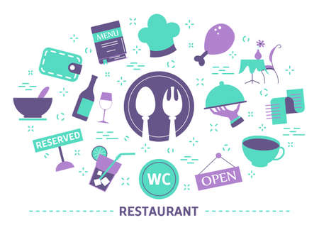 Cafe icon set. Drink and food symbol