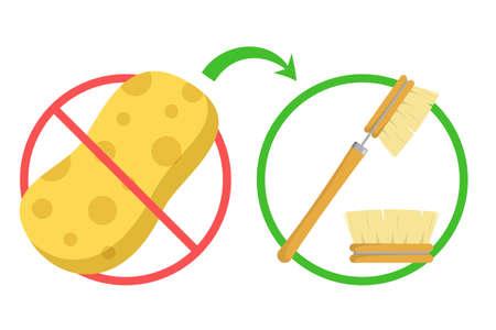 Zero waste concept banner. Avoid sponge for washing
