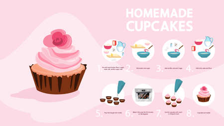 Delicious sweet cupcake recipe for cooking at home Illustration