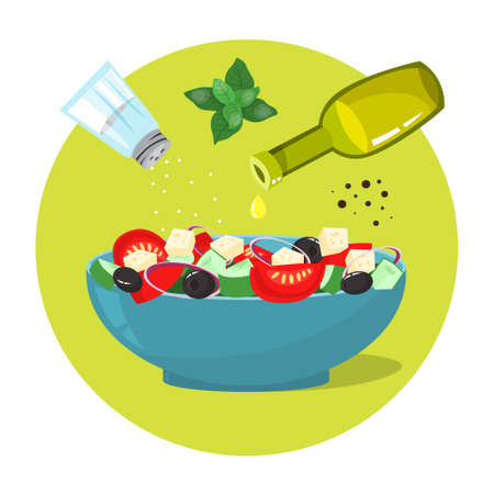 Greek salad in a plate. Organic healthy food. Cucumber and tomato, olive oil, feta cheese and pepper with salt. Isolated flat illustration