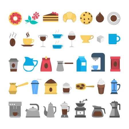 Coffee icon set. Collection of coffee making tool