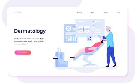 Dermatologist concept illustration. Dermatology specialist, face skin Stock Illustratie