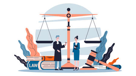 Law concept. Idea of justice, court and lawyer. Gavel and judge book, bill and scales. Isolated flat vector illustration Banque d'images - 128653047
