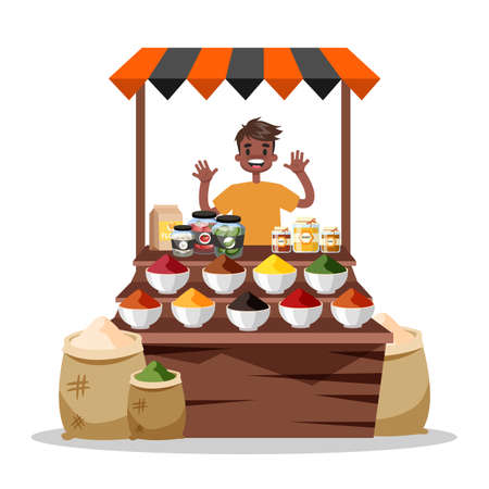 Man selling food spice. Asian colorful spices market